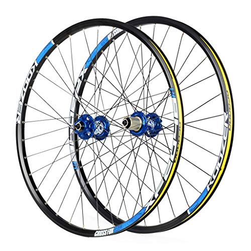 MZPWJD Cycling Wheels for 26 27.5 29 Inch Mountain Bike Wheelset, Alloy Double Wall Quick Release Disc Brake Compatible 8-11 Speed (Color : Blue, Size : 27.5inch)