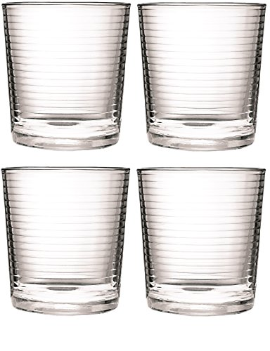 Circleware Theory Double Old Fashioned Whiskey Drinking Glasses, Set of 4, 13 Ounce