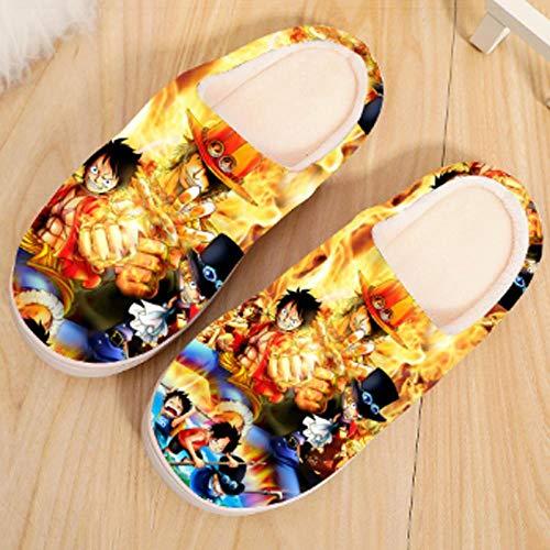 Japanische Manga Plüsch Hausschuhe Herren Damen Herbst und Winter Pantoffeln Baumwolle Wärme rutschfeste Schuhe Bodenschuhe-One_Piece_2_UK_6-7.5 / EU_39-42 (280mm)