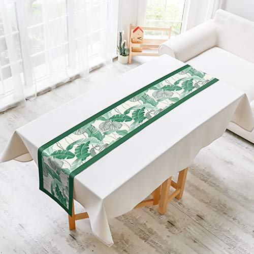 Plant Flower Printed Cotton And Linen Table Runner, Rustic Style,Table Runners For Farmhouse Kitchen, Dinner Holiday Parties, Wedding, Events Decor 30x240cm