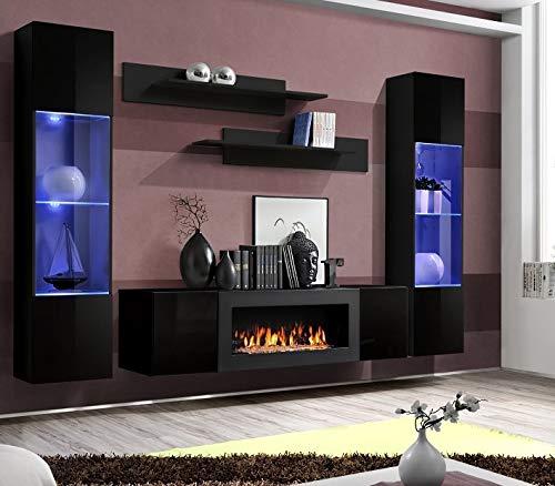 Moderner Wohnwand Lexus mit Bio Kamin Anbauwand Schrankwand Weiß Schwarz 21 (Schwarz)