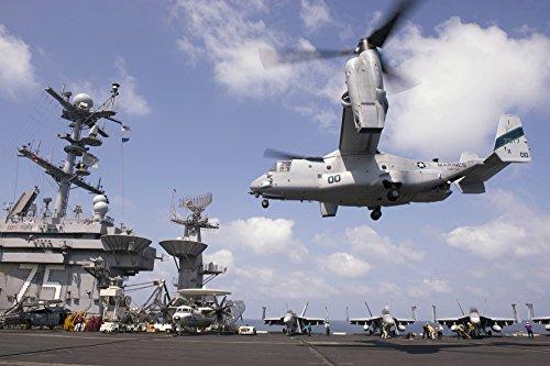 Gulf of Oman, October 15, 2013 - An MV-22 Osprey lands aboard the aircraft carrier USS Harry S. Truman (CVN 75). Poster Print (17 x 11)