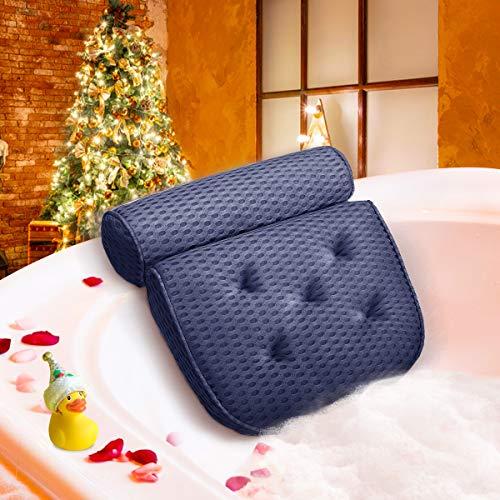 Essort Badewannenkissen, 4D-Air-Mesh-Technologie Komfort badewanne kopfkissen mit 5 Saugnäpfen ist weich und atmungsaktiv badewanne nackenpolste für Home Spa Whirlpools Grau