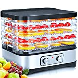 Food Dehydrator Machine, Food Dryer, Dehydrator for Beef Jerky, Fruits, Vegetables, Adjustable Temperature Control Electric Food Dehydrator with 5 BPA-free Trays, 250W
