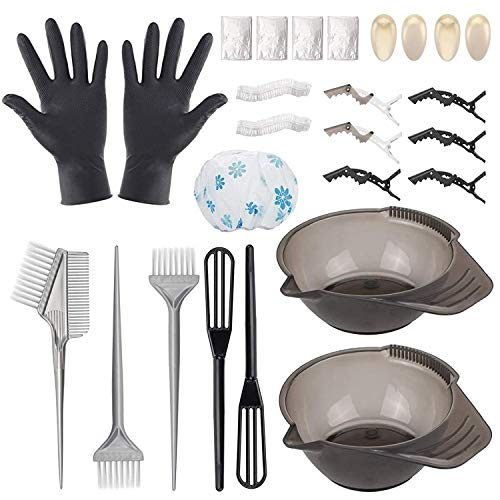 Hair Dye Color Brush and Bowl Set, Hair Coloring Dyeing Kit, 26 Pcs Hair Bleaching Kit Professional Salon Tools: Hair Color Mixing Bowl, Dye Brush, Comb, Barber Apron, Shower Cap, Hairdressing Clips