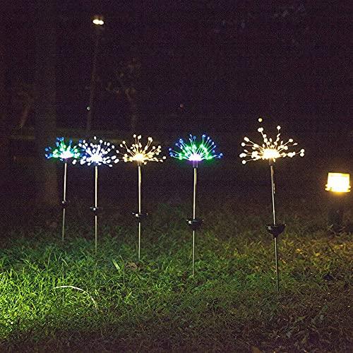 Niazi Lámpara solar impermeable para jardín, fuegos artificiales, lámpara de Navidad para exterior, caminos de jardín, césped, decoración, lámpara LED Yard