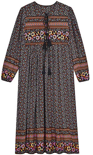 UIMLK Boho Maxi Dresses for Women Casual Summer, Cotton Long Sleeve Floral Print Tassel Bohemian Midi Dresses with Pockets,14-XL