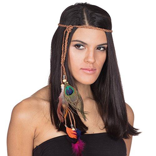 NET TOYS Bandeau de Femme avec des Plumes | Coiffe Indienne | Ruban aborigène | Accessoires Indiennes