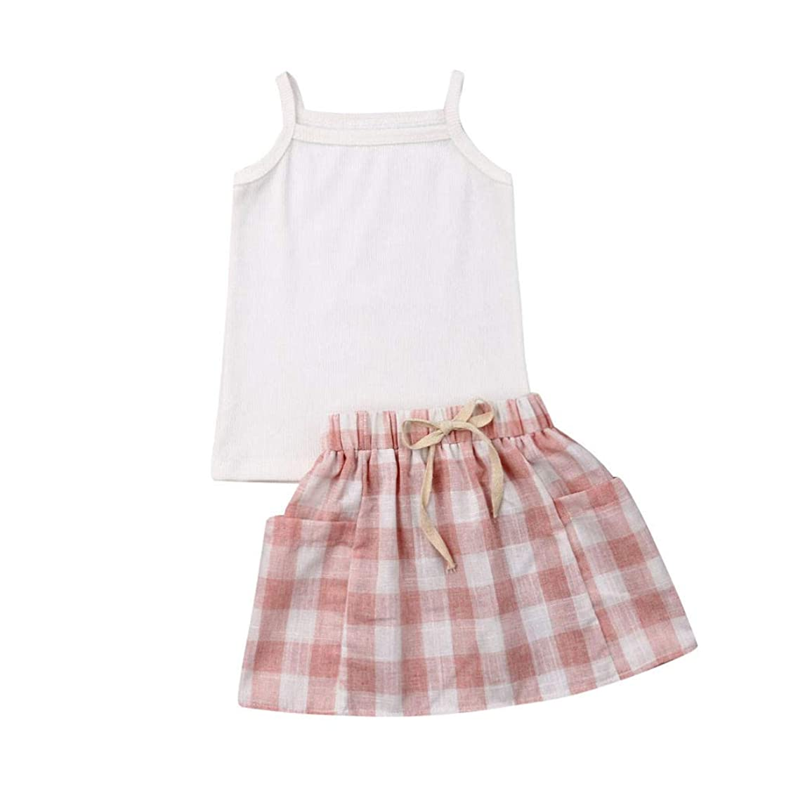 Baby Toddler Girls Summer Clothes Set 1-4 Years Old Child Sleeveless Vest Tank Tops and Plaid Skirts Outfits