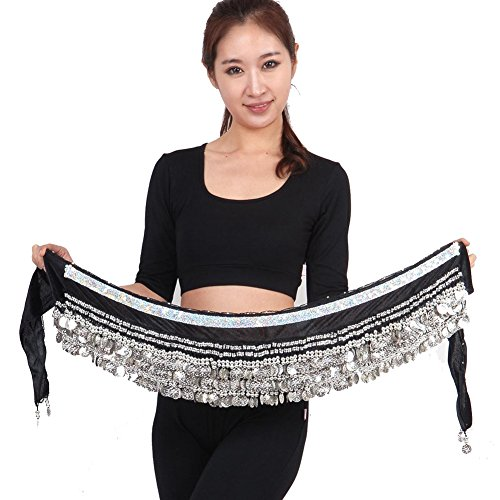 Saymequeen 338 Shiny Silver Coins Women Belly Dance Waist Chain Hip Scarf Belt (black)