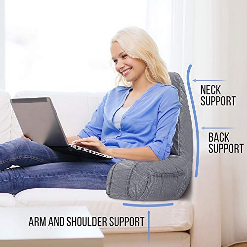 Reading Pillow Bed Wedge Large Adult Backrest Lounge Cushion with Arms and Pockets | Back Support for Sitting Up in Bed / Couch for GERD Heartburn Bedrest by ComfortSpa
