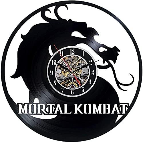 kkkjjj Mortal Kombat Reloj de Pared Decoración Negra Decoración Moderna Reloj de Pared con Disco de Vinilo En Cualquier situación, Familiares y Amigos