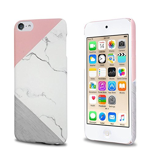 J.west iPod Touch 6th Generation Case, iTouch 5/6/7 Case Unique Marble Design Pink Geometric Anti-Scratch &Fingerprint Shock Proof Ultra Thin Non Slip Matt Hard PC Case for iPod Touch 7/6/ 5