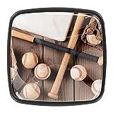 Perillas de gabinete,tiradores,paquete de 4,perilla de cocina,tocador,cajón,puerta,Murón de béisbol del guante de béisbol ,Cristal cuadrado