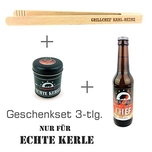 """Geschenkset 3-tlg. """"Nur für echte Kerle"""" mit Bier """"Hier grillt der Chef"""", Grillgewürz und Grillzange mit Namens-Gravur"""