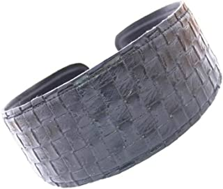 Caravan Wide And Comfortable Leather Basket Weave Headband In Colors