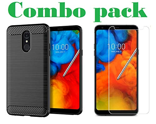 AONIR Combo Pack 9H Tempered Glass with Flexible Zebra Back Case Cover for LG Q Stylus/LG Q Stylus Plus