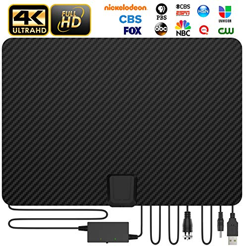[Update 2020 Version] Macromolecule Performance Carbon Fiber 120 Miles TV Antenna, Digital Amplified Indoor TV HD OTA Antennas Clear 4K Fire TV Stick for All Television - No Vibration Omnidirectional