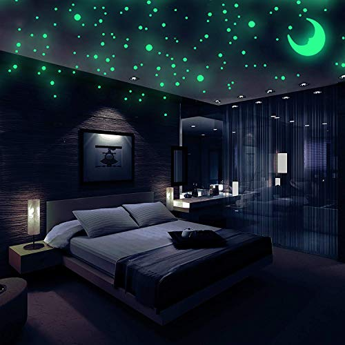 Realistic 3D Domed Glow in The Dark Stars, 572 Dots in 3 Sizes and A Moon for Ceiling Or Walls, Glow...