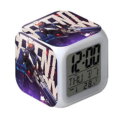 juntop Reloj Despertador Luz Nocturna-Reloj Despertador Luz LED 7 variaciones de Color Reloj Digital Reloj Reloj Cuadrado Reloj Cuadrado Retro Reloj Digital Retro