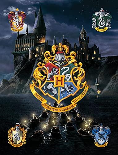 Harry Potter Tapis de chambre pour enfants Poudlard Bleu 100 cm x 133 cm Tapis antidérapant anti-bruit Tapis de jeu pour enfants Gryffondor Poudlard Serpentlaw Slytherin Ron Weasley Hermione