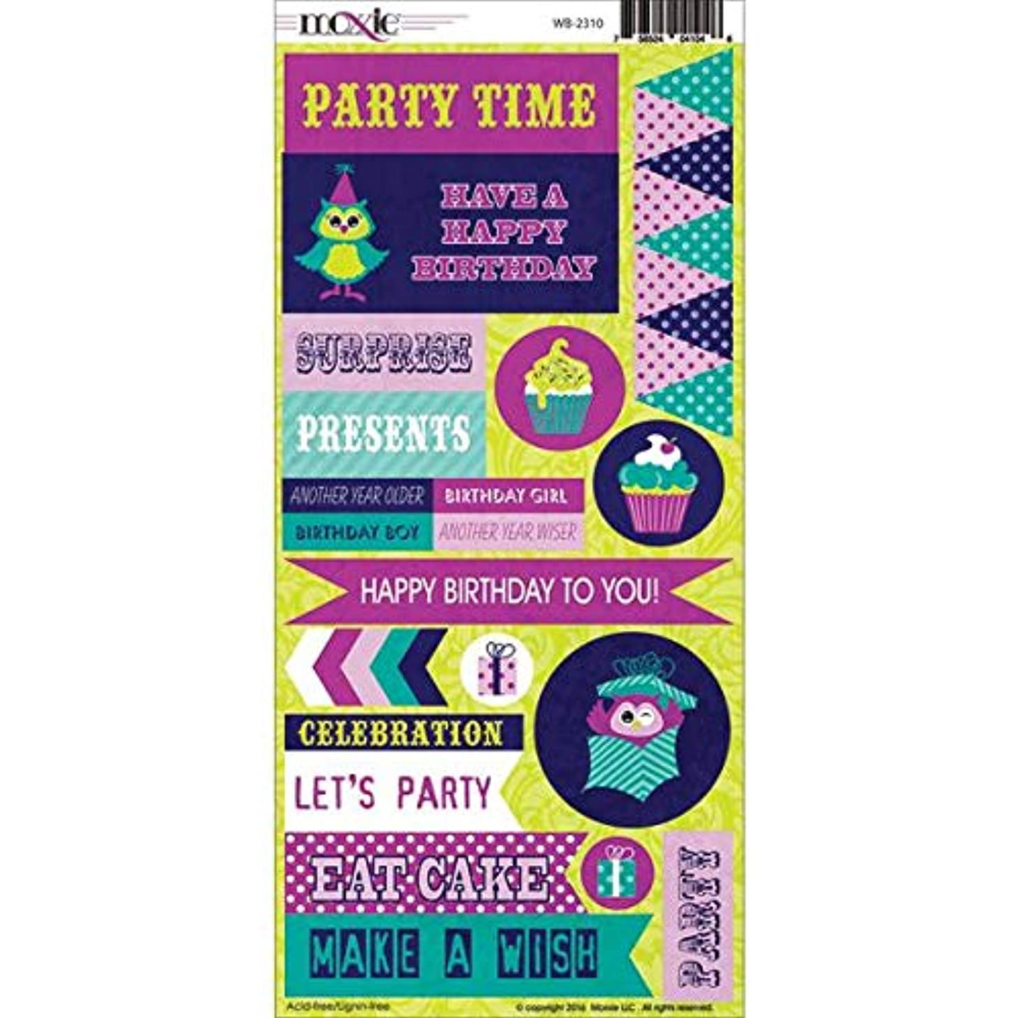 Moxxie WB-2310 Who's Birthday Cardstock Stickers, Multicolor