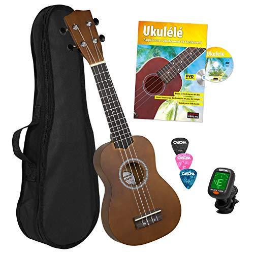CASCHA HH 3956 FR Sopran Ukulele Bundle mit französischer Schule, Stimmgerät, Tasche, 3 Picks und Aquila Qualitäts-Saiten