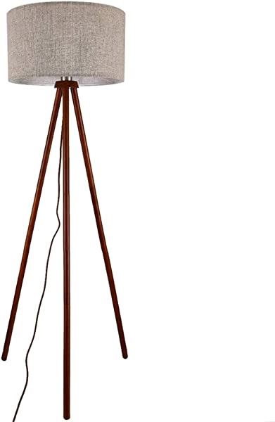 BLACKOBE 三脚架落地灯中世纪现代立式阅读灯 E26 灯底座淡黄色灯罩木质落地灯客厅卧室书房和办公室 59英寸 17 7英寸 11英寸