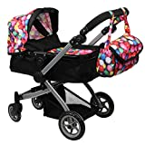 Babyboo Deluxe Doll Pram Foldable Doll Stroller with Basket, Adjustable Handle, Convertible Seat, Swiveling Wheels and Free Carriage Bag, Gumball and Black - 9651B