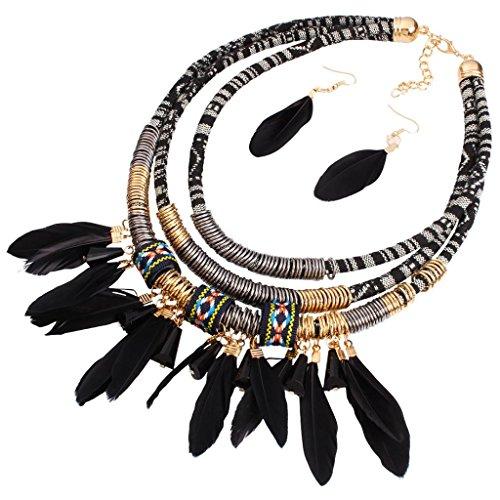 Joyería de Mujer Pendiente Collar Babero Tribal Pluma Borla