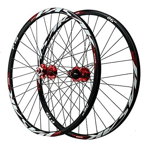 LvTu Mountainbike MTB Laufradsatz Vorderrad & Hinterrad Rad 26/27,5/29 Zoll Legierung Scheibenbremse Abgedichtetes Lager Fahrrad-Rad 7-12s Kassette 32H Felge (Color : Red, Size : 26 inch)