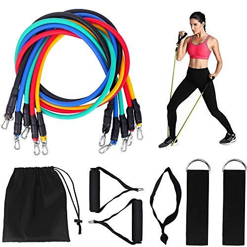 FYTTP - Bandas de resistencia para ejercicio, 11 unidades, con tubos de fitness, asas de espuma, elástica, ideal para estiramiento de barriga, yoga, hombres y mujeres