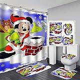 xiemengyangdeshoop Duschvorhang-Kreative Cartoon Micky Maus Mode Haushalt Hotel Badezimmer Produkte Vierteilige Badezimmermatte 200 (B) X 180 (H) cm