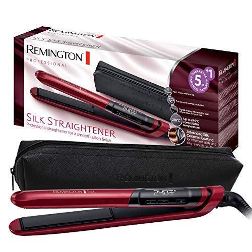 Remington Glätteisen Silk (Doppelschicht-Keramikbeschichtung mit Seidenproteinen für samtig glatte & glänzende Haare) LCD-Display, 150-235°C, für max. 30 Sek 240°C, Haarglätter S9600