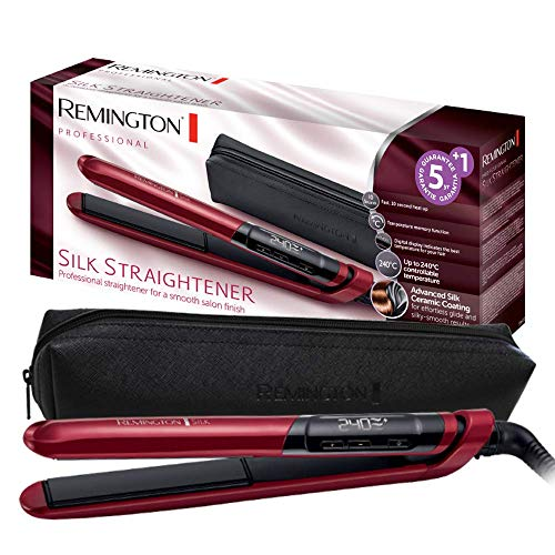 Remington Haarglätter Silk S9600, Keramikbeschichtung mit Seidenproteinen, rot