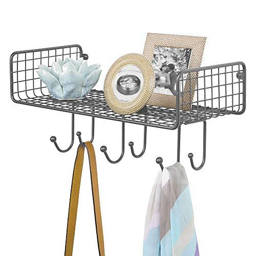 mDesign Organizador de Cartas con Cesta para el Pasillo o la Cocina – Cuelga Llaves Compacto con Guarda Cartas y 6 Ganchos – Colgador de Pared con balda metálica – Gris Antracita