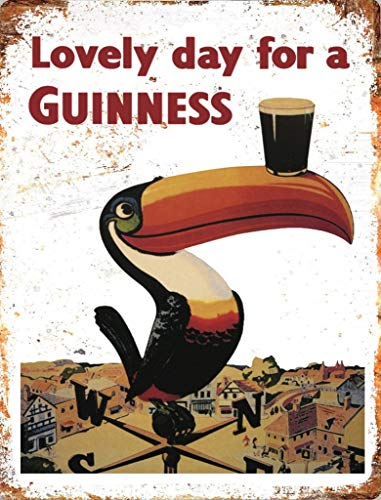 Novelty Retro Vintage Wall tin Plaque 20x15cm - Ideal for Pub shed Bar Office Man Cave Home Bedroom Dining Room Kitchen Gift - Guinness Drink Beer Ale Stout Toucan Bird Metal Sign