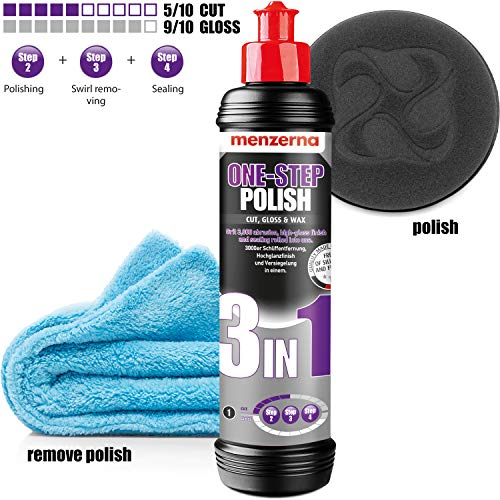 detailmate Einsteiger Auto Politur Set - Menzerna Medium Cut Politur One-Step-Polish 3 in 1 + Liquid Elements Applikations Schwamm Polierpad + Mikrofaser Poliertuch langflorig
