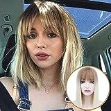 BECUS Peluca de pelo corto de color marrón a rubio corto Bob peluca sintética recta con flequillo para mujeres uso diario