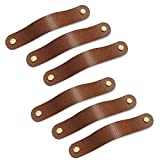 Leather Drawer Pulls,Dresser Pulls 6 Pack,Soft Cabinet Pulls to Avoid Collision,Perfect Replacement of Metal Cabinet Handles,Two-Hole(5.1 Inch Hole to Hole, Brown)