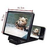 BXU-BG Pantalla 3D Amplificador del Soporte del teléfono móvil Lupa por un Titular de la Pantalla de vídeo Plegable ampliada la protección de Ojos (Color : Black)