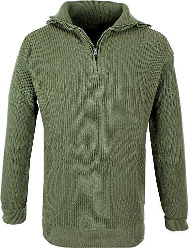 Herren Marine Troyer Pullover 100% Baumwolle Oliv XL