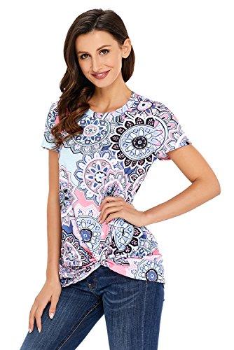 Gludear - Camisas - Túnica - para Mujer Gris Mandala XX-Large