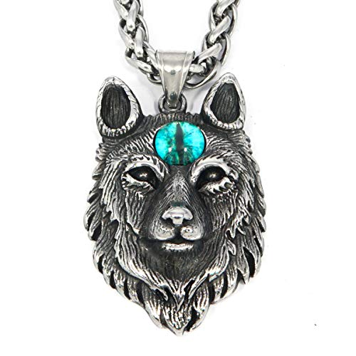 Gungneer Norse Viking Wolf Head Fenrir Norse Animal Spirit Stainless Steel Keel Chain Necklace Men Women Norse Protection Jewelry