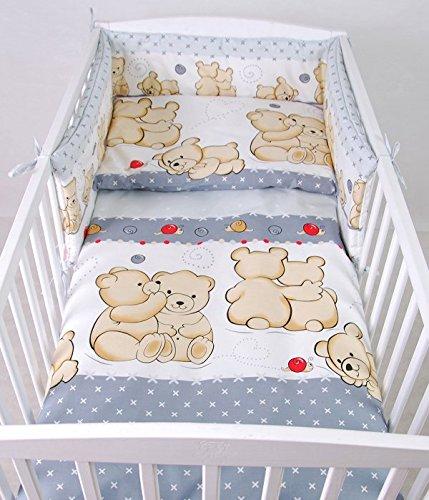 BABYLUX Kinderbettwäsche 2 Tlg. 90 x 120cm Bettwäsche Bettset Babybettwäsche (61. Teddybären Grau)