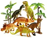 Haktoys Pack of 8 Dinosaur Toy Set   6 Educational, Realistic 7' Dinosaurs Figures; T-Rex Triceratops Velociraptor...