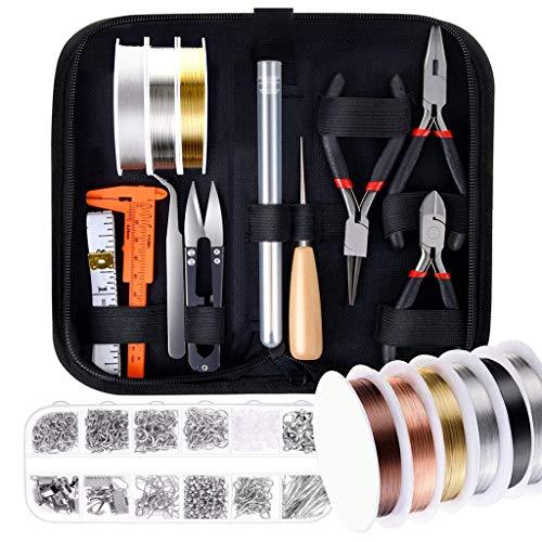 Fugift Juego de 24 piezas para hacer joyas con alambres de joyería, kit de hallazgos para manualidades, collares, pulseras, joyería, abalorios, herramientas de reparación de accesorios de joyería