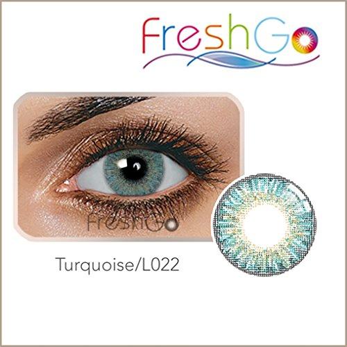 Farbige Jahres Kontaktlinsen braun, blau, grün, grau, türkis weich, ohne Stärke als 2er Pack (2 Stück)- mit Aufbewahrungsbox, angenehm zu tragen, perfekt für helle und dunkle Augen, Party (Türkis)
