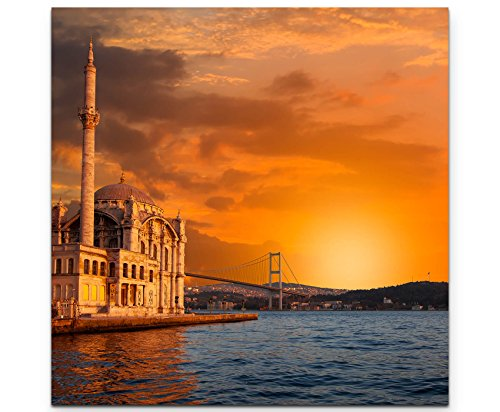 Paul Sinus Art Leinwandbilder | Bilder Leinwand 60x60cm Ortaköy-Moschee bei Dämmerung – Istanbul