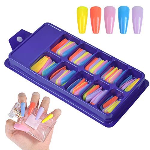HQdeal 100 Stück Acryl Fingernagel Nagelspitzen Bunt Falsche Nägel Französisch Gefälschte Nägel Tipps Künstliche Nägel Kunst Tipps Drücken Sie auf die Nägel für Damen Mädchen 10 Größen (B)
